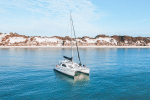 Yacht anchored on Western side of Fraser Island