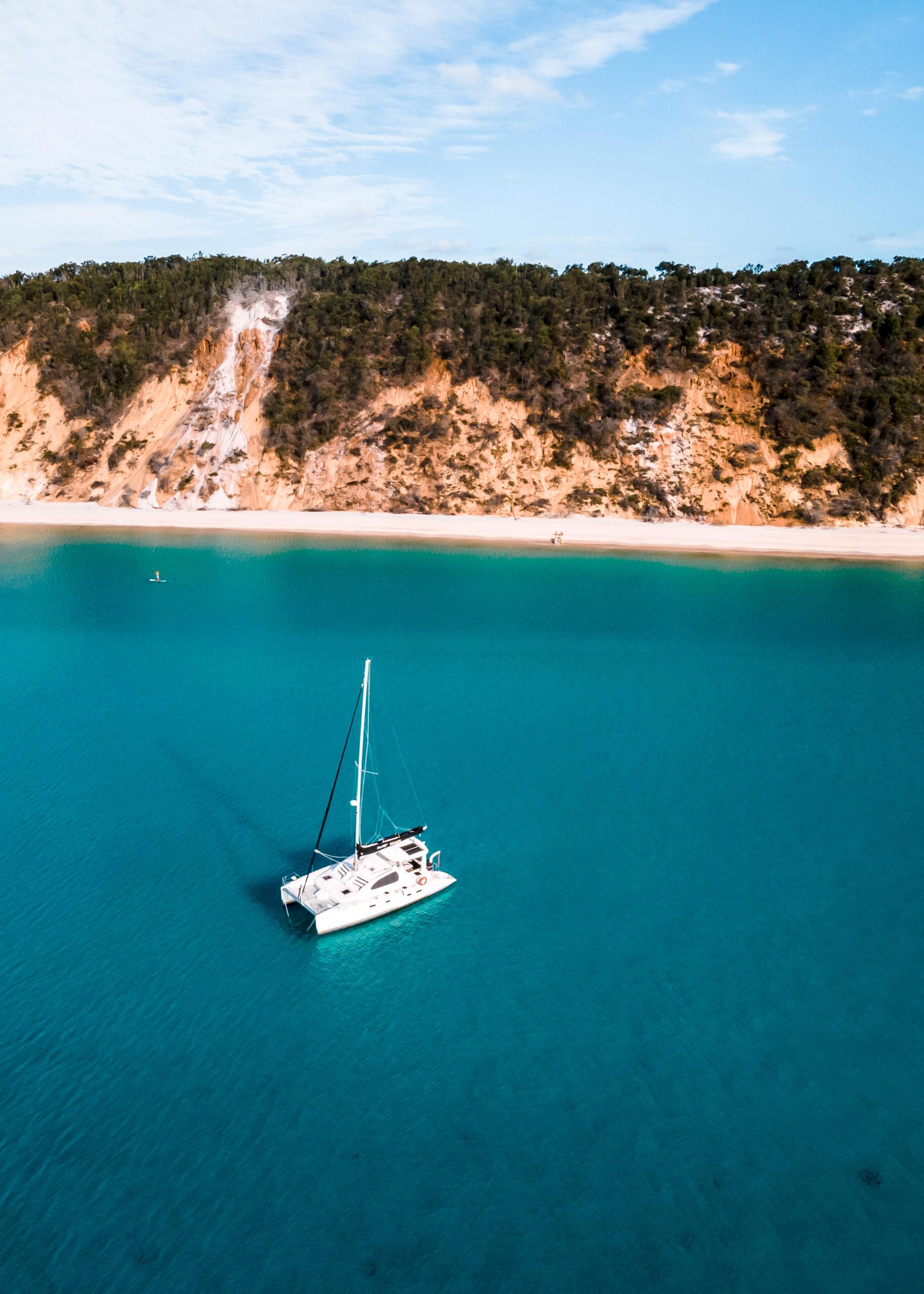 Sailing catamaran at anchor off Fraser Island