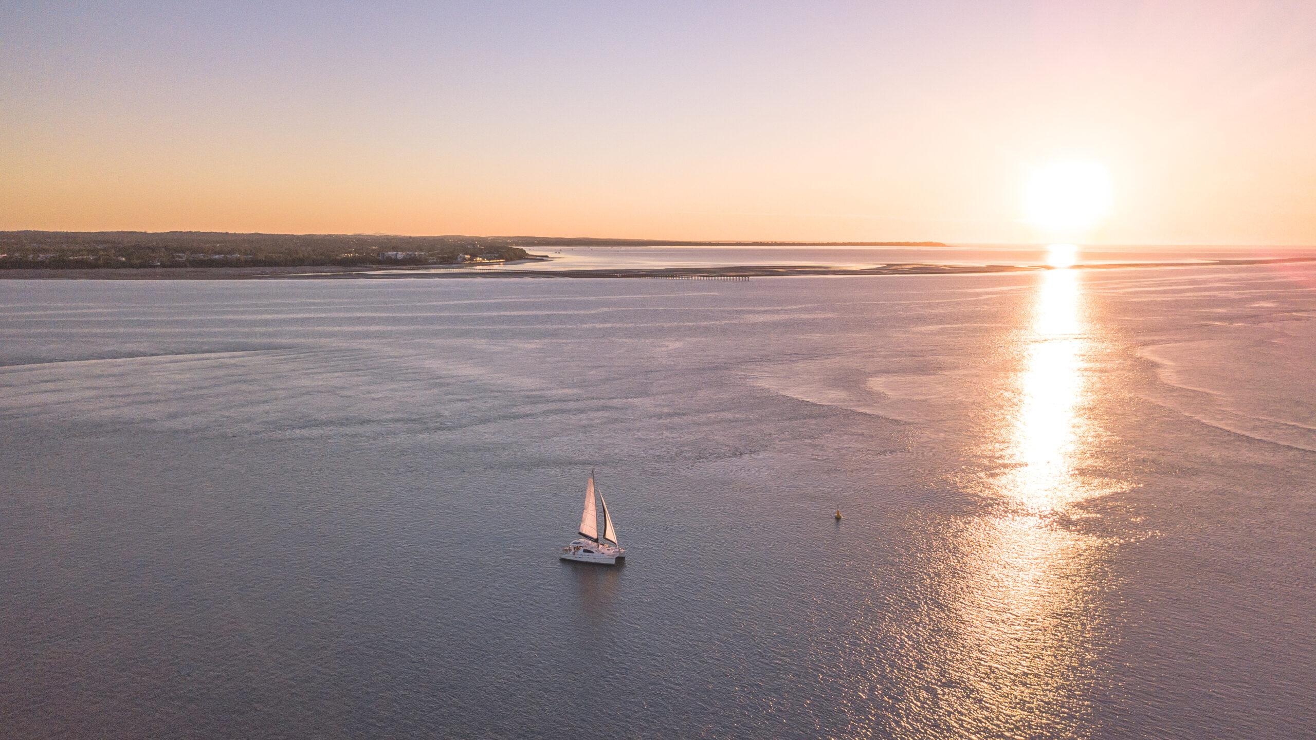 Sailing at sunset Hervey Bay